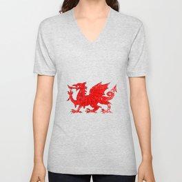 Welsh Dragon With Grunge Unisex V-Neck