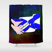 rugby Shower Curtains featuring Rugby Scotland Flag by mailboxdisco