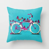 brompton Throw Pillows featuring Butterfly Bicycle by Wyatt Design
