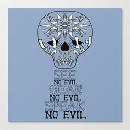 Cute Skull See no Evil Canvas Print