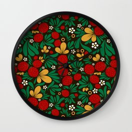 Strawberry pattern in traditional russian style hohloma khohloma Wall Clock