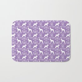 Schnauzer floral silhouette pattern schnauzers minimal lilac purple dog Bath Mat