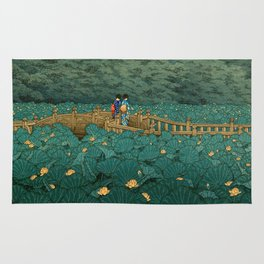 Vintage Japanese Woodblock Print Kawase Hasui Japanese Children Lotus Flowers Garden Wooden Bridge Rug