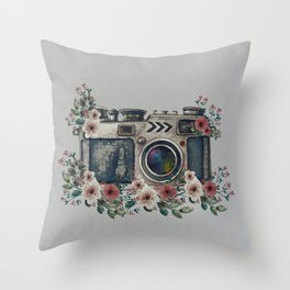Camera with Summer Flowers Throw Pillow