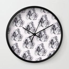 Flower Head Nude Pattern Wall Clock