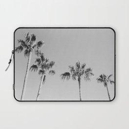 Black Palms // Monotone Gray Beach Photography Vintage Palm Tree Surfer Vibes Home Decor Laptop Sleeve