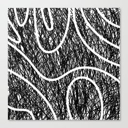 Scribble Ripples - Abstract Black and White Ink Scribble Pattern Canvas Print