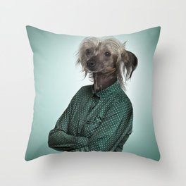 Chinese hairless crested dog Throw Pillow