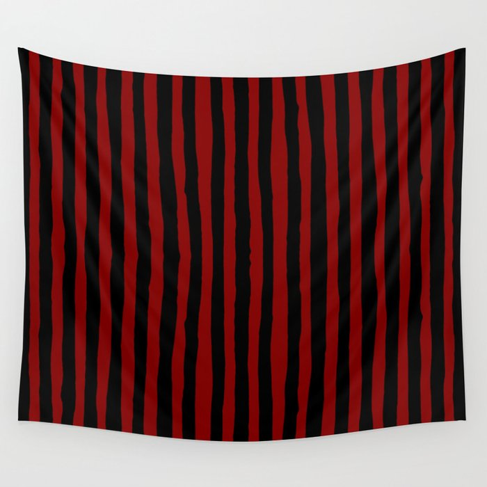 Black and Red Stripes Wall Tapestry