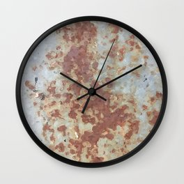 brown rusty surface with blue background Wall Clock