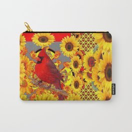 RED CARDINAL BIRD YELLOW SUNFLOWERS  ABSTRACT Carry-All Pouch