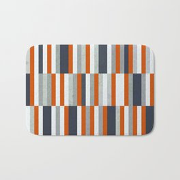 Orange, Navy Blue, Gray / Grey Stripes, Abstract Nautical Maritime Design by Bath Mat