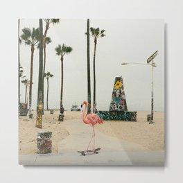 Venice Beach Flamingo Metal Print