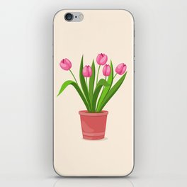 pink tulips in the pot iPhone Skin