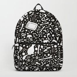Black Ink Drawing with Cats, Bones, Skulls, Knives and Hearts. Backpack