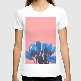 Blue Plant Pink Background T-shirt