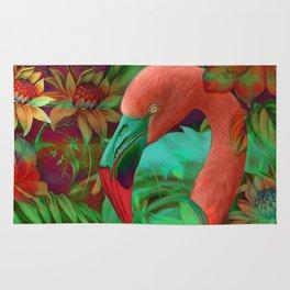 """""""Tropical Floral Retro Flamenco"""" Rug"""