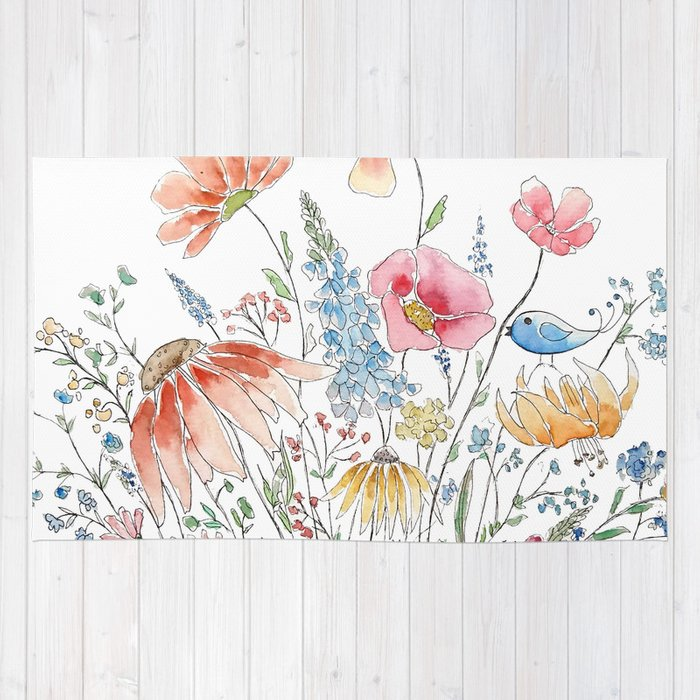 wild flower bouquet and blue bird- ink and watercolor 2 Rug by ...