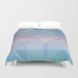 Painterly Pastel Leaves Abstract Duvet Cover