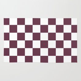 Checkered Pattern: Burgundy Red Rug