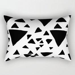 Black white hand painted geometric triangles Rectangular Pillow