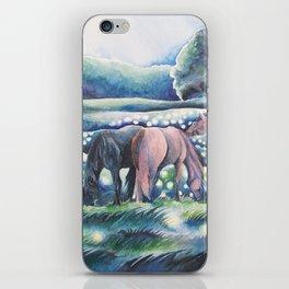 Moonlit Summer Night Horses And Fireflies iPhone Skin