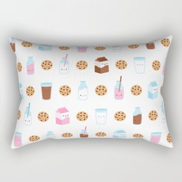 Milk and Cookies Pattern on White Rectangular Pillow