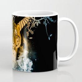Beautiful tiger with flowers Coffee Mug