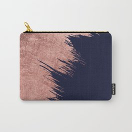 Navy blue abstract faux rose gold brushstrokes Carry-All Pouch