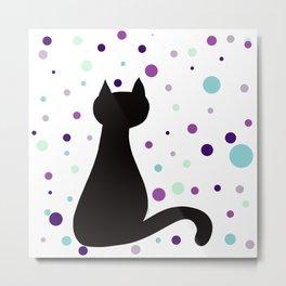 Black Cat Party! Metal Print