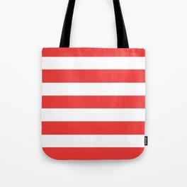 Vivaldi Red - solid color - white stripes pattern Tote Bag