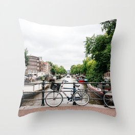 Bicycles in Amsterdam canal Throw Pillow