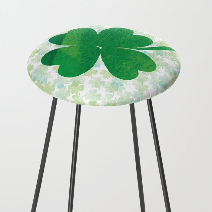 Lucky Watercolor Clovers Counter Stool