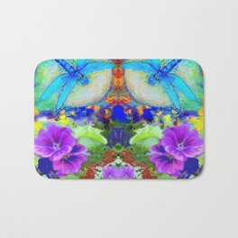 "BLUE ""ZINGER"" DRAGONFLIES  & PURPLE FLOWERS ART Bath Mat"