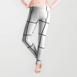 black grid on white background Leggings