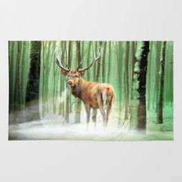 a deer in a mystic forest Rug