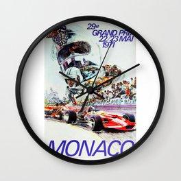 Gran Prix de Monaco, 1971, original vintage poster Wall Clock