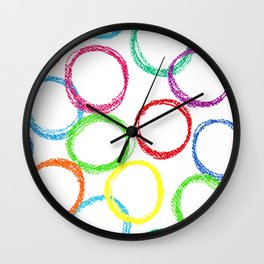 Seamless pattern background with colored circles of pastel crayon Wall Clock
