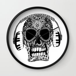 Tangled Skull with Headphones Wall Clock