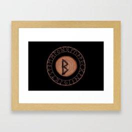 Berkano Elder Futhark Rune secrecy, silence, safety, mature wisdom, dependence, female fertility Framed Art Print