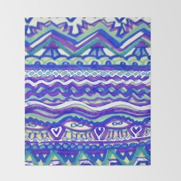 Aztec Blue Mountains and Fields of Streams Throw Blanket