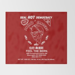 Bernie Sanders Sriracha Style Feel The Bern Throw Blanket