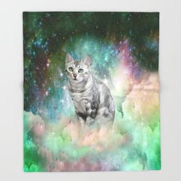 Purrsia Kitty Cat in the Emerald Nebula of Innocence Throw Blanket