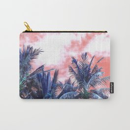 Surreal Wild and Free Palm Trees - Coral & Blue Carry-All Pouch