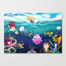 FUN•tastic Ocean ~ Colorful FUN & Friends Line Canvas Print