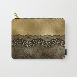 Black floral luxury lace on gold effect metal background Carry-All Pouch