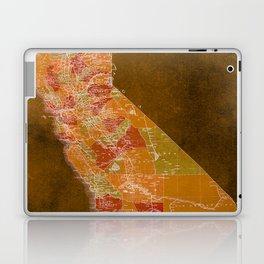 California Los Angeles old vintage map. Orange vintage poster for office decoration Laptop & iPad Skin