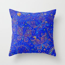 Blue Spring Butterfly Pattern Throw Pillow