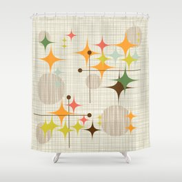 Delightful Mid Century Modern Starbursts And Globes 3a Shower Curtain