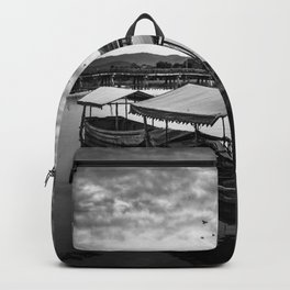 Boat on Water (Black and White) Backpack